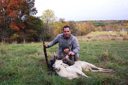 Father and Son with white deer