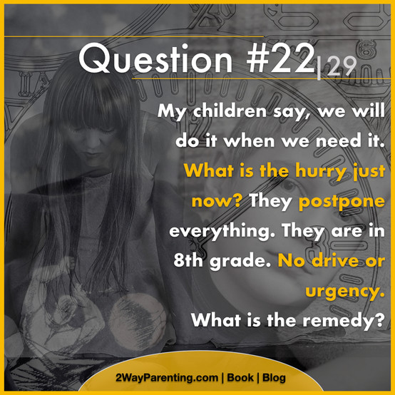 My children say, we will do it when we need it. What is the hurry just now? They postpone everything