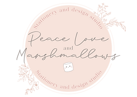 Peace love and marshmallows Logo, Handmade, bespoke stationery. Wedding and event stationery.