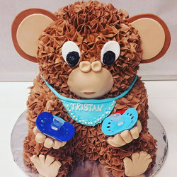 Highlight from last weekend. Monkey baby shower cake. Buttercream with fondant accents