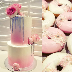 Tall drip cake and matching donuts