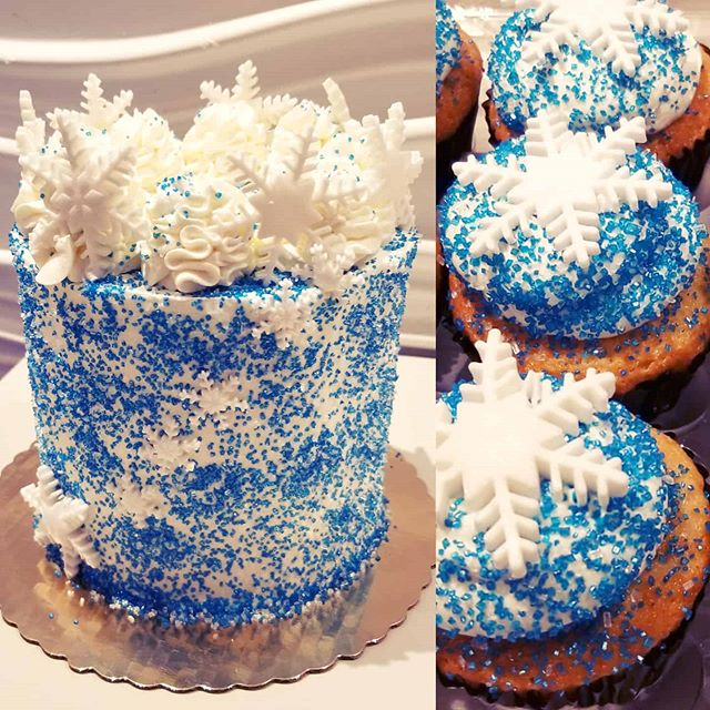 Winter themed birthday cake and cupcakes