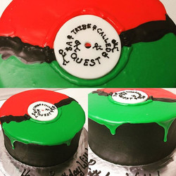 A Tribe Called Quest album cake, made with buttercream and poured white chocolate ganache