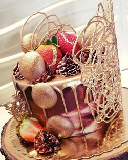 Loved making this cake! Rose gold drip c