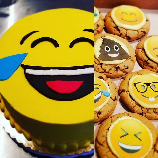 Emoji cake and cookies