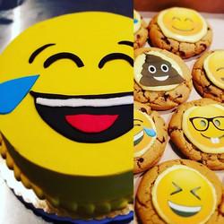 Emoji cake and cookies