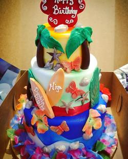 Luau theme birthday cake