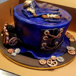Steampunk hat, gloves and goggles cake