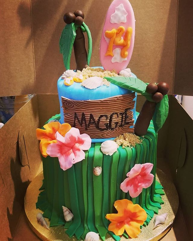 Luau theme birthday cake # 2