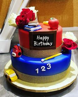 Teacher themed birthday cake