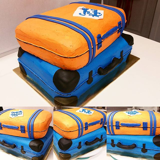 Lincoln University trunk party cake. Top tier _suitcase_ is strawberry cake, bottom tier is vanilla.