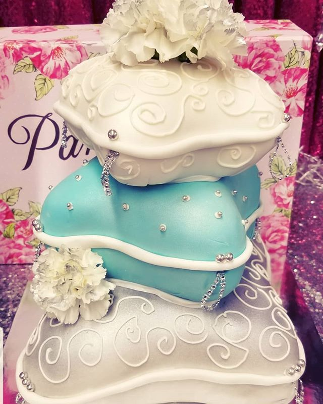 3 tier pillow cake for a birthday party.