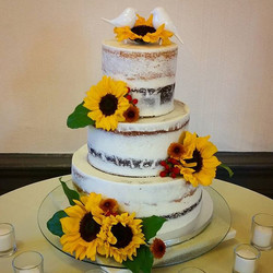 Semi-naked style wedding cake (my first one!)