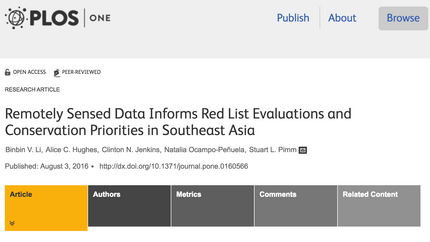 Paper: Remotely Sensed Data Informs Red List Evaluations and Conservation Priorities in Southeast As