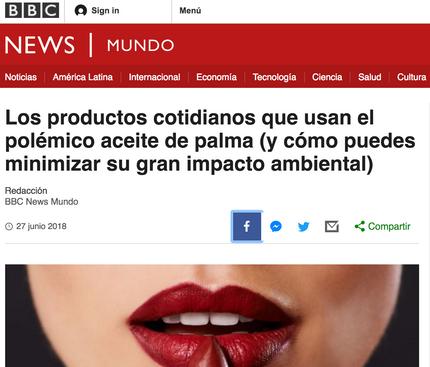 BBC Mundo me entrevista sobre el aceite de palma