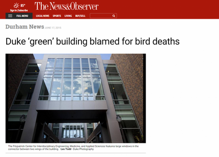 The News & Observer writes about bird-window collision project at Duke