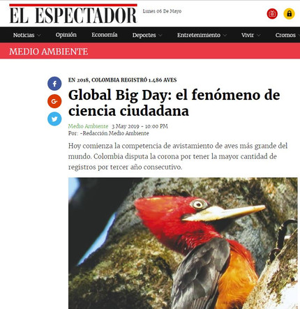 Featured in El Espectador's article about the Global Big Day 2019
