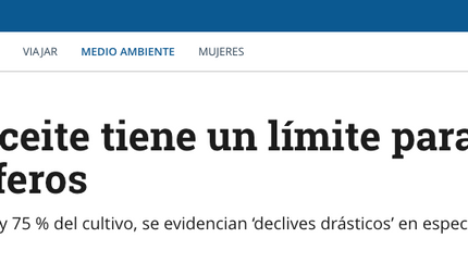 """Colombian newspaper """"El Tiempo"""" mentions our oil palm and biodiversity paper"""