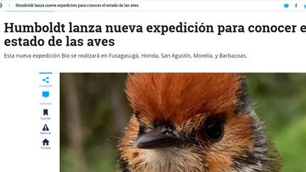 """Notas en El Tiempo sobre nuestro proyecto """"Expediciones BIO Alas, cantos y colores"""""""