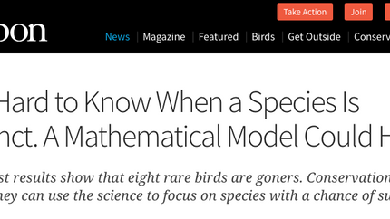 Quotes in Audubon Magazine article on new paper by BirdLife International