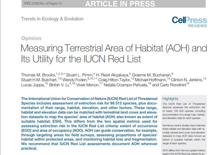 New paper out on TREE: Area of Habitat for the IUCN Red List
