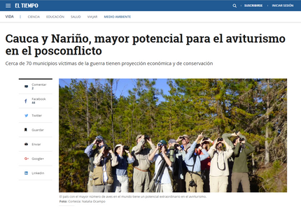 Colombian newspaper El Tiempo covers birdwatching tourism paper