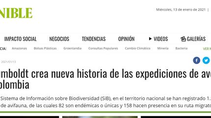 Nota de prensa en Semana Sostenible sobre las Expediciones BIO Alas, cantos y colores