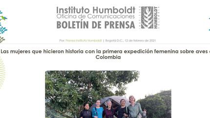 Nota de prensa sobre la Expedición Fememina 2021 por el Instituto Humboldt