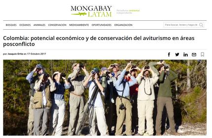 En español: Potencial del aviturismo en zonas de posconflicto en Colombia