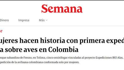 Nota en la Revista Semana sobre nuestra expedición femenina, la primera de su tipo en Colombia