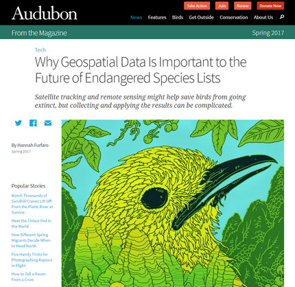 Audubon Magazine covers our research, and present the controversy sparked by it