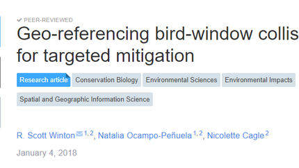 Our paper on using iNaturalist to target mitigation of window collisions in out on PeerJ