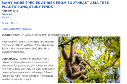 Note about the SE Asia in the Nicholas School website