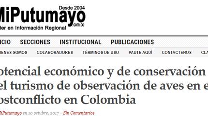 En MiPutumayo: artículo sobre el potencial del aviturismo en el posconflicto