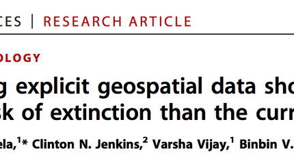 Paper: Incorporating explicit geospatial data shows more species at risk of extinction than the curr