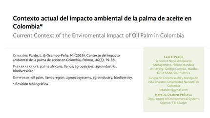 Nuevo artículo sobre el impacto ambiental de la palma de aceite en Colombia