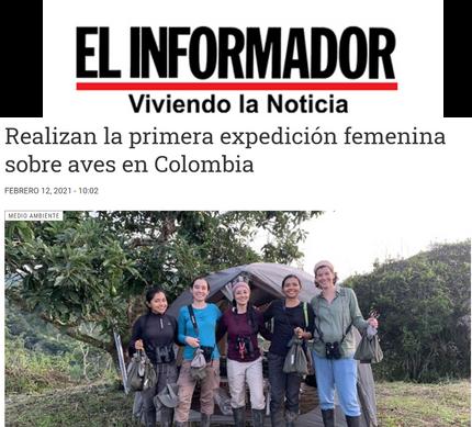 El Informador sobre la primera expedición femenina para estudiar aves en Colombia