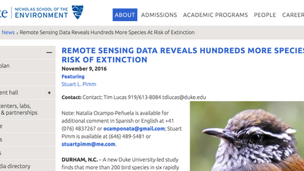 Duke Nic School news release about our Science Advances paper