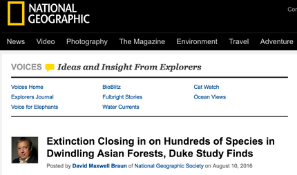 Note on NatGeo Voices about our SE Asia paper