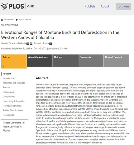 Paper: elevational ranges of montane birds and the impacts of deforestation