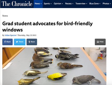 Grad student advocates for bird-friendly windows