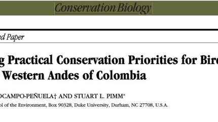 Paper: conservation priorities for birds in Colombia