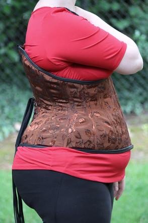 Customized underbust corset in brown bro