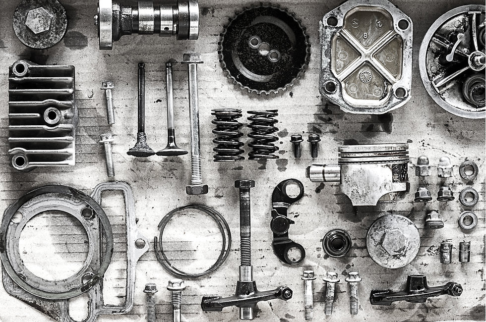 Old parts of motorcycles background with