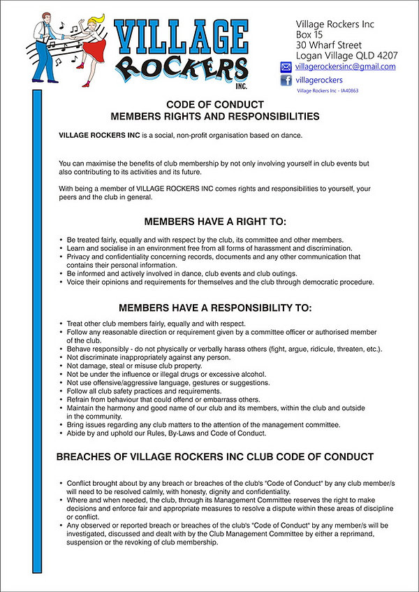 Village Rockers Inc. Code of Conduct