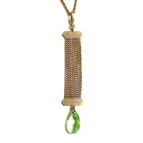 Chain Fob with Green Swarovski Crystal WHSL