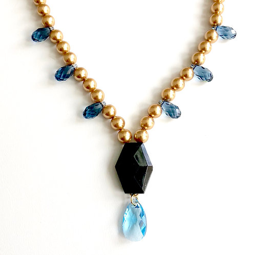 Victorian Mourning Bead with Gold and Denim Blue Swarovski
