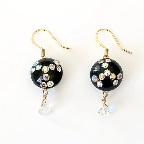 Vintage Black Buttons with Rhinestones