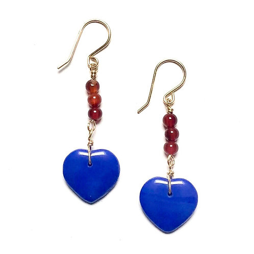 True Blue Carnelian Earrings