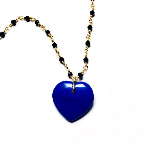 True Blue Black Spinel Charm Necklace